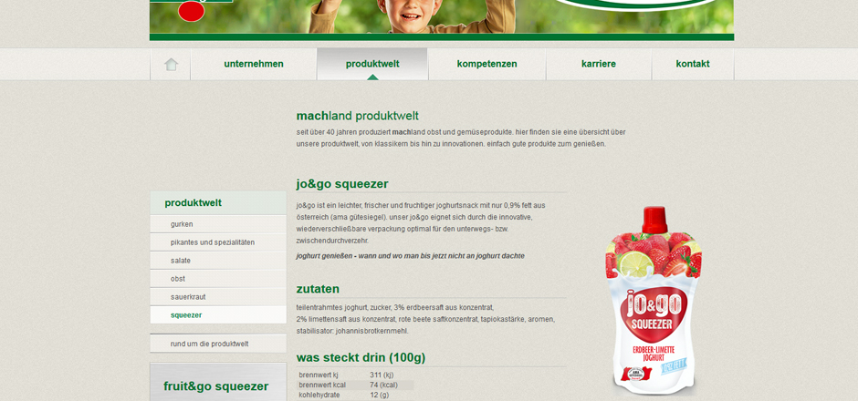 Detail Produktdarstellung Machland Website