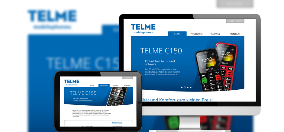 Screen Website TELME Mobilephones Referenz